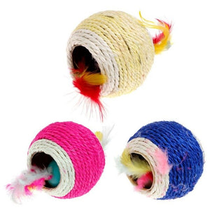 Lovely Sisal Rope Feather Ball Toy Wine Whiskers