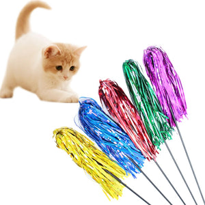 Reflective Strips Teaser Stick Cat Toys Wine Whiskers