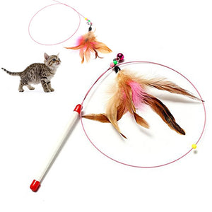 Steel Wire Feather Teaser Wand Toy Wine Whiskers