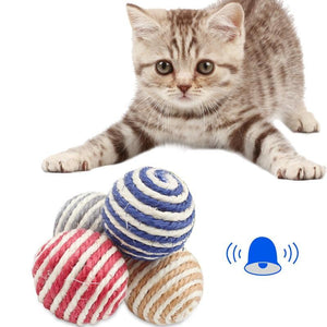 Grinding Teeth Cleaning Rope Ball Toys For Cat Wine Whiskers