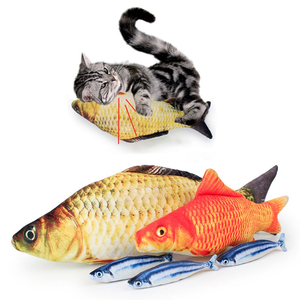 3D Carp Fish-Shaped Cat Toy Wine Whiskers
