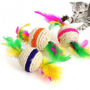 Sisal Feather Ball Scratch Catch Cat Toy Wine Whiskers