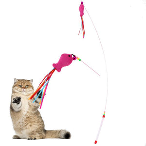 Interactive Fish Shape Steel Wire Cat Toy Wine Whiskers