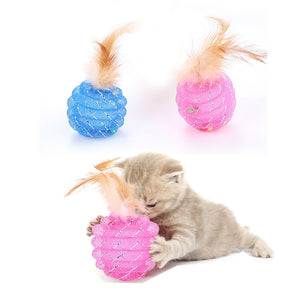 Feather Balls Colorful Scratching Cats Toys Wine Whiskers