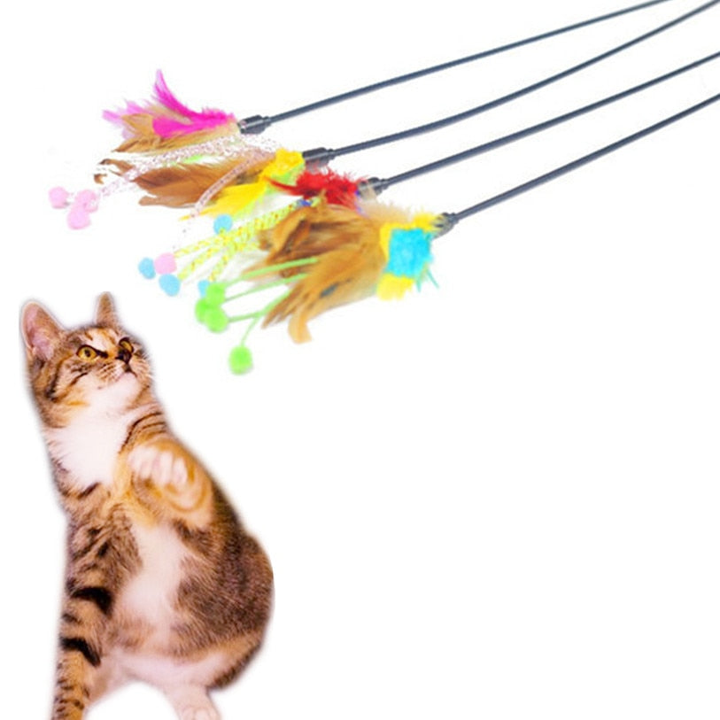 Flower Bud Bird Feather Plush Cat Toys Wine Whiskers