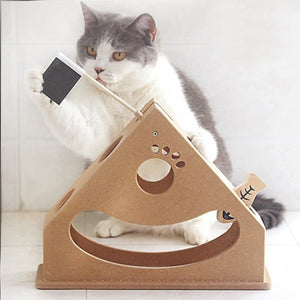 Boat Swing Type Wooden Puzzle Cat Toys Wine Whiskers