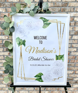 Floral White Roses Gold Watercolor Baby Shower Welcome Sign Printable Editable Template WGB02