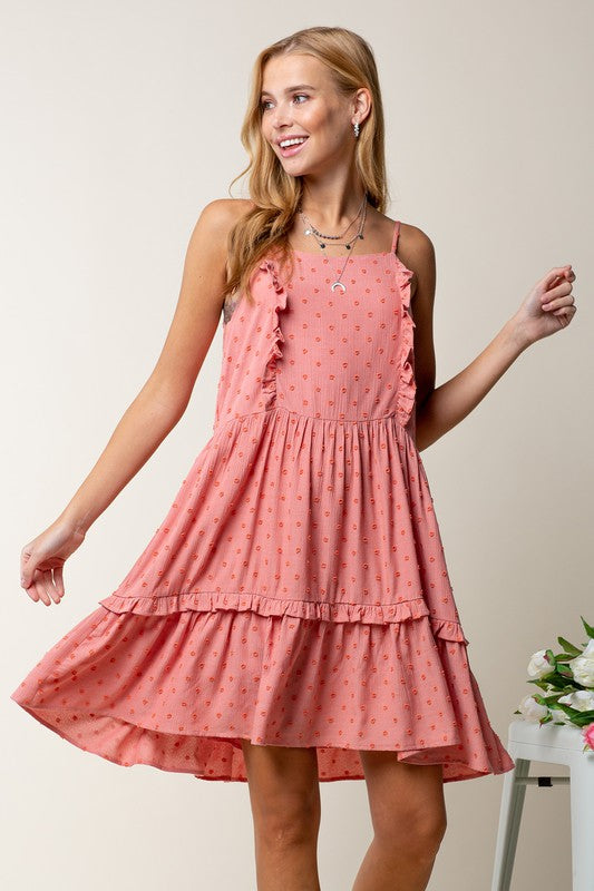 Coral Dot Babydoll Dress