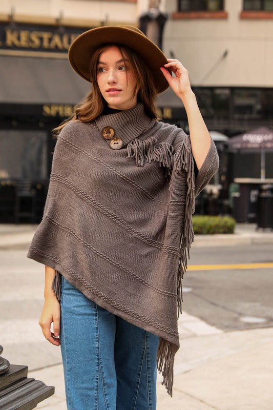 Grey Button Poncho