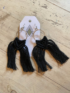 Black Large Macrame Earrings