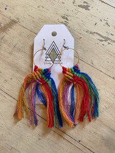 All the Colors Large Macrame Earrings