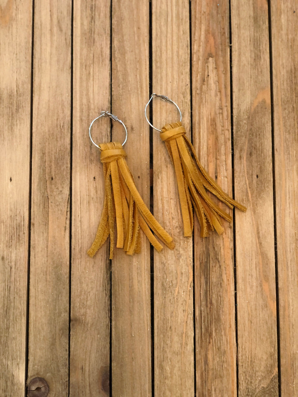 Mustard Leather Tassel Earrings