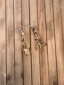 Cheetah Leather Tassel Earrings