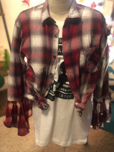 Red and White Plaid Flannel Tee