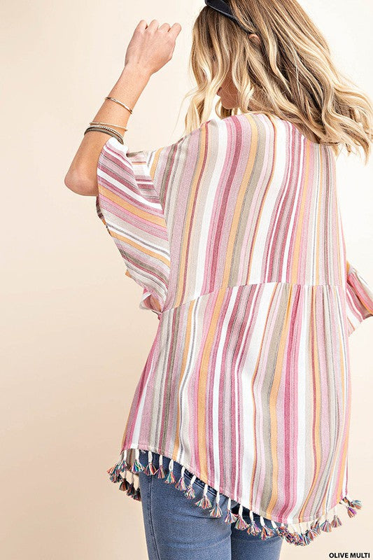 Springtime Striped Tassel Top