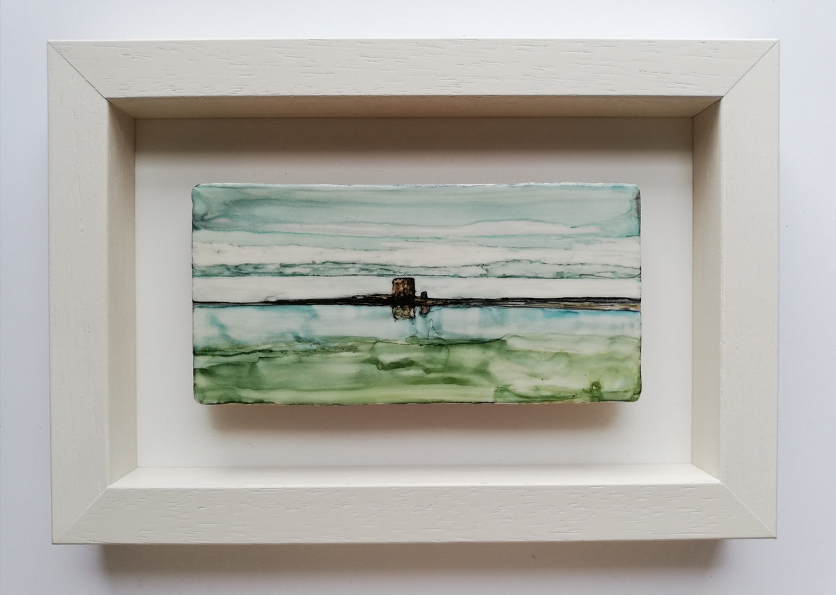 Alcohol ink on Ceramic Tile, Martello Tower, Co Clare, Galway Bay