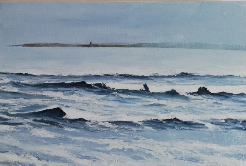 Original Irish Art, Oil on Canvas, Wild Atlantic Way, Lahinch, by the sea, waves