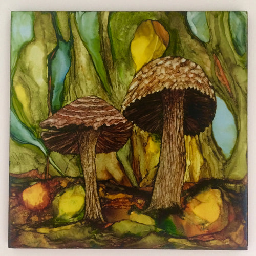 Original Irish Artwork, Alcohol Ink Paintings, Alcohol Ink on Tile, Mushrooms