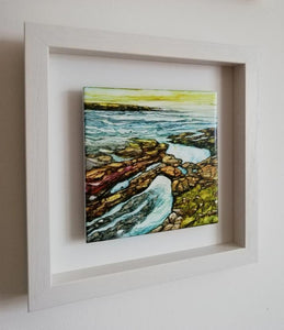 Rock Pools  (25cm x 25cm Framed) Available for sale at The Russell Gallery