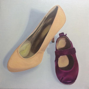 Original Irish Art, Oil on Canvas, Painting, Mother and Daughter, shoes