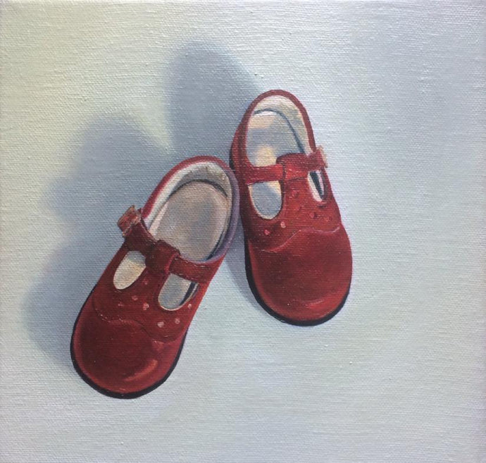 Original Irish Art, Oil on Canvas, Painting, First Shoes