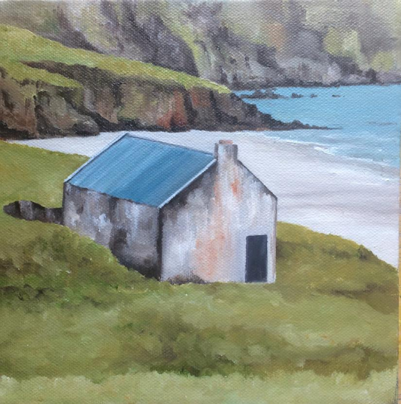 Original Irish Art, Oil on Canvas, Painting, Little House by the Sea, Achill, Co Mayo