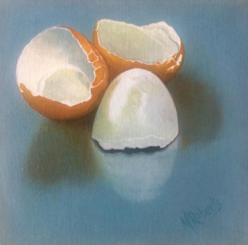 Original Oil Painting, Egg Shells