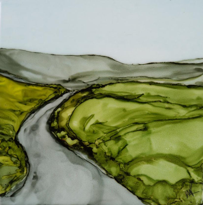 Original Irish Artwork, Alcohol Ink Paintings, West of Ireland, Burren, Wild Atlantic Way, Irish Roads