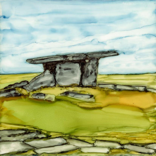 Original Irish Artwork, Alcohol Ink Paintings, West of Ireland, Burren, Wild Atlantic Way, Dolmen, Poulnabrone Dolmen