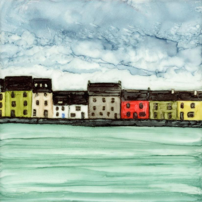 Original Irish Artwork, Alcohol Ink Paintings, The Long Walk, Claddagh, Galway