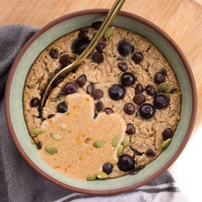 Chocolate Chip Blueberry Protein Muffin Baked Oats Recipe