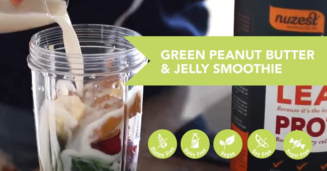 Green Peanut Butter & Jelly Protein Smoothie Recipe