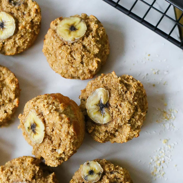 chewy oat bran banana protein muffins