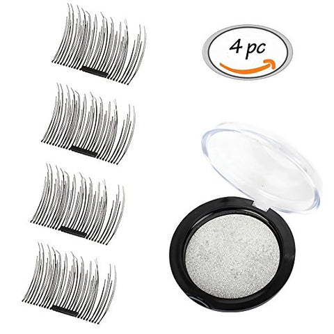 4x Magnetic Eyelashes [No Glue] Premium Magnet Quality False Eyelashes Set for Natural Look - Best Fake Lashes Extensions One Two Cosmetics 3D Reusable Black (009)