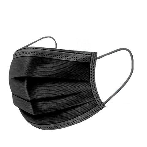BLACK DISPOSABLE RESPIRATORY FACE MASKS