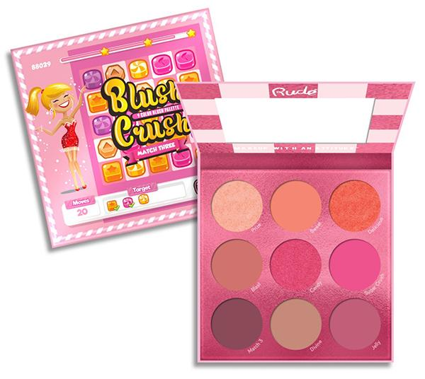 "RUDE COSMETICS 9 COLOR BLUSH PALETTE ""BLUSH CRUSH - MATCH THREE"""