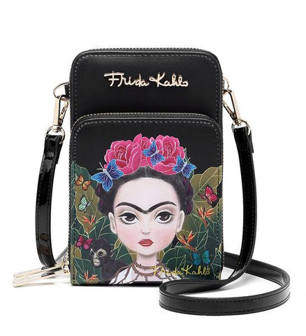 FRIDA KAHLO FLORAL BUTTERFLY DESIGN CROSSBODY BAG