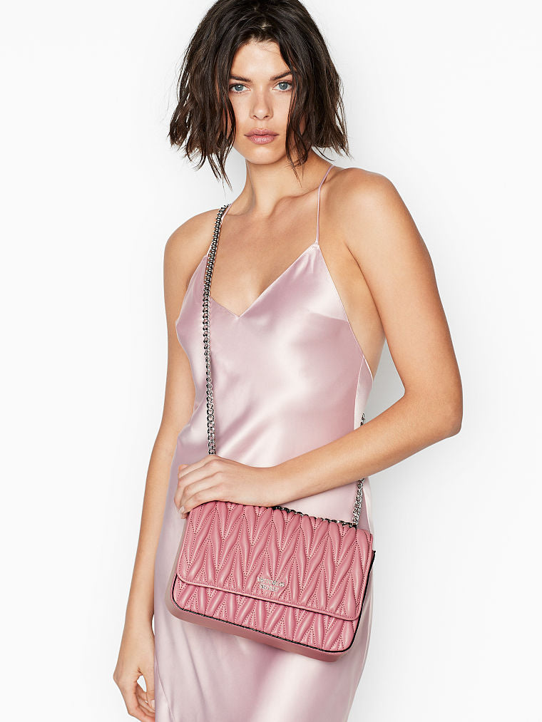 VICTORIA'S SECRET PEBBLED V-QUILT SHOULDER BAG
