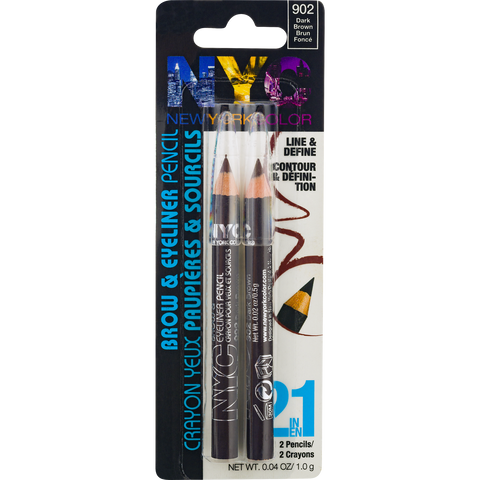 "NYC NEW YORK COLOR BROW & EYELINER PENCIL ""DARK BROWN"""