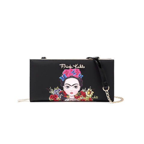 FRIDA KAHLO FLORAL JUNGLE SERIES ZIPPER WALLET w/CROSSBODY STRAP