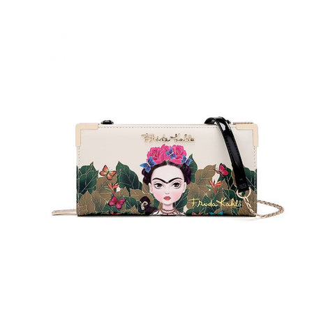 FRIDA KAHLO ZIPPER WALLET w/CROSSBODY STRAP
