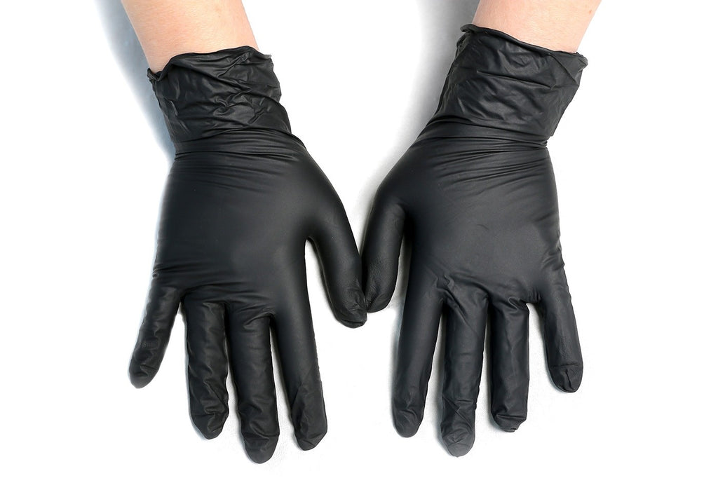 BLACK DISPOSABLE NITRILE GLOVES (All sizes available