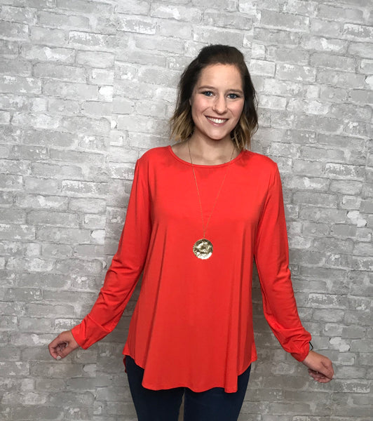 Britney Knit Top L/S top- orange - Curvature Clothing