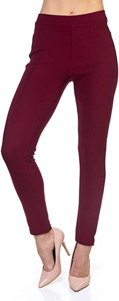 Premium Ponte pant-Burgundy - Curvature Clothing
