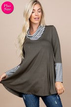 Plus solid/stripe tunic with cowl neck-olive