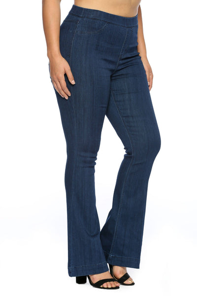 Plus- Cello mid-rise  flared pull on jegging- dark blue - Curvature Clothing