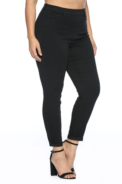 Plus- Cello mid-rise pull on crop skinny denim- black - Curvature Clothing
