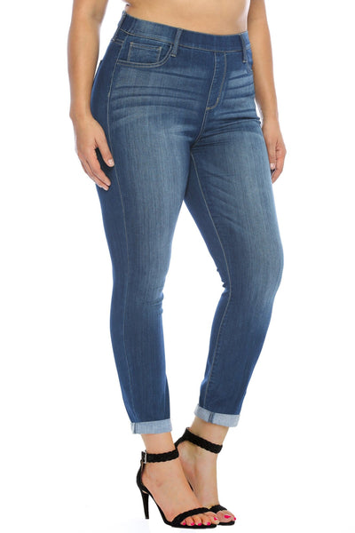 Plus- Cello mid-rise pull on crop skinny denim- dark blue - Curvature Clothing