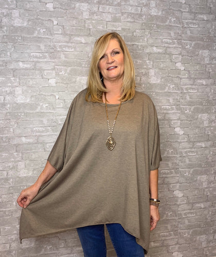 One size-Staci- hanky hem top- Oatmeal - Curvature Clothing