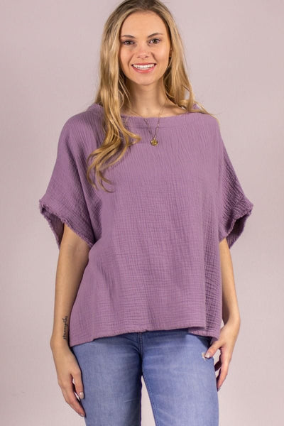 Guaze poncho top- lavender - Curvature Clothing